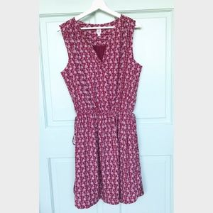 Gap red and white print dress two tie on waist
